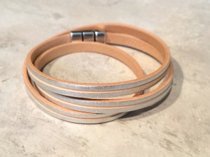 Silver colored leather bracelet