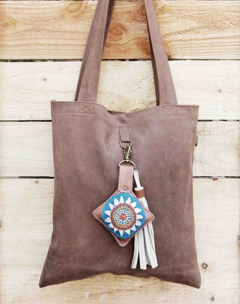 Learher bag and flower charm
