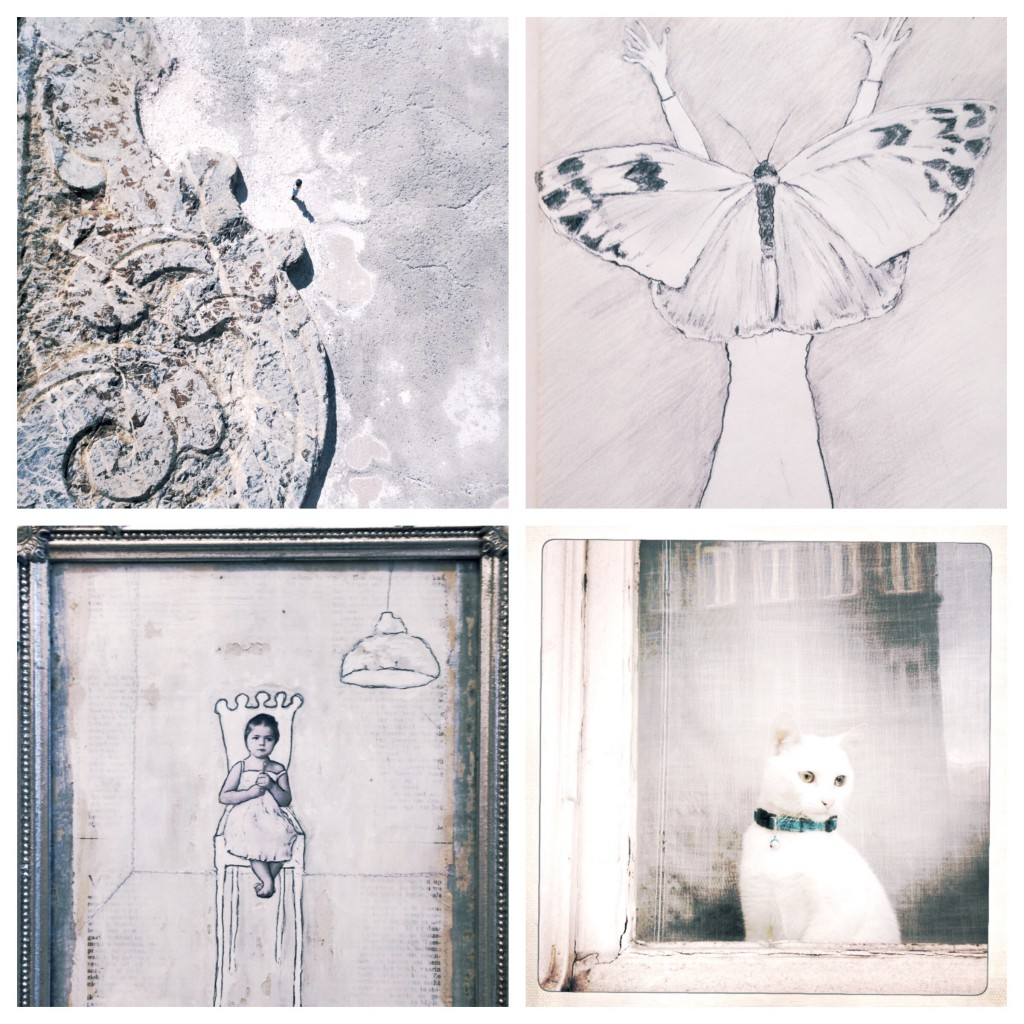 Clockwise: photo Sicily, sketchbook drawing, mixed media, cat in Gent Gemma Steemers