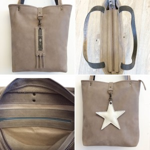 Leather bag with inside pocket and top zip