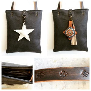 Leather bag and leather handmade handles