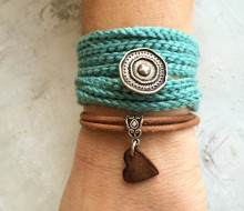 Handmade crochet with leather bracelet