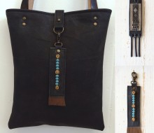 Antraciet leather bag with beaded and handmade bagcharm
