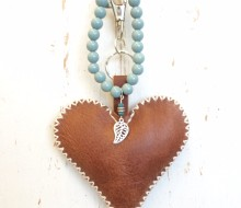 Leather bagcharm and bracelet