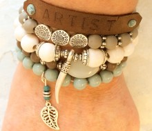 Mix and match leather and bead bracelets