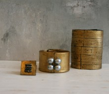 Gold leafed ring and bracelets
