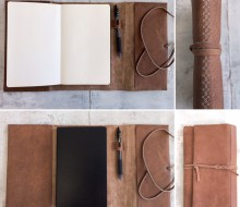 Brown leather sketchbook cover