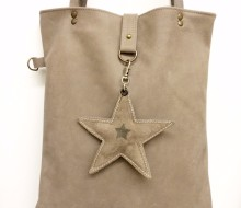 Warm grey buffalo leather bag with charm (sold)